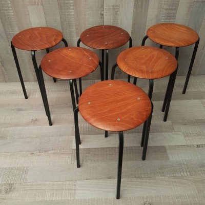 Industrial plywood stools by Eromes, 1960s