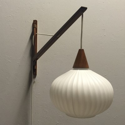 Danish design teak wall lamp with ribbed glass, 1960s