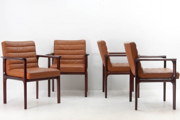 Set of 4 Lübke arm chairs, 1970s