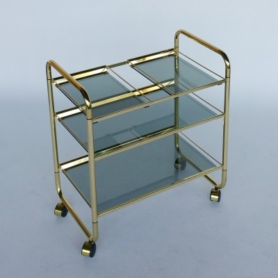Brass & Smoked Glass Folding Trolley, 1970s