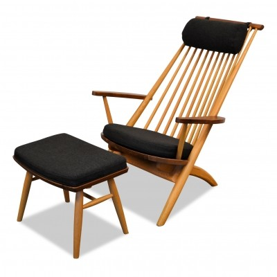 Tateishi Shoiji oak lounge chair/walnut & Footstool
