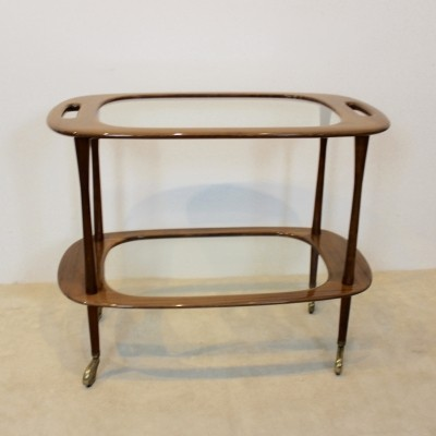 Walnut Bar Cart by Cesare Lacca for Cassina, Italy 1950s