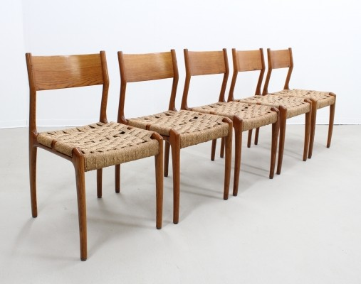 Set of 5 Fratelli Reguitti dinner chairs, 1950s