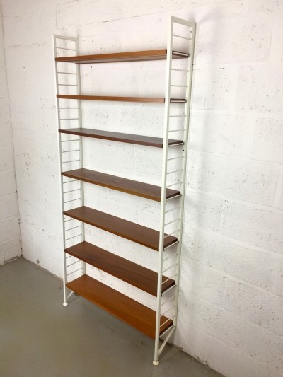 Modular Ladderax shelving by Robert Heal for Staples of Cricklewood, England