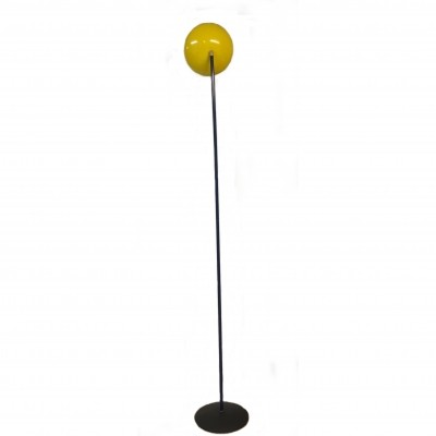 Floor lamp with yellow diffuser & blue metal stem, 1980s