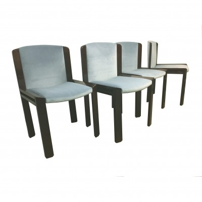Set of 4 chairs by Joe Colombo for Pozzi in rosewood & blue powder velvet, 1966