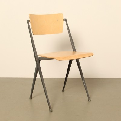 25 x Pyramide dining chair by Wim Rietveld for Ahrend de Cirkel, 1950s