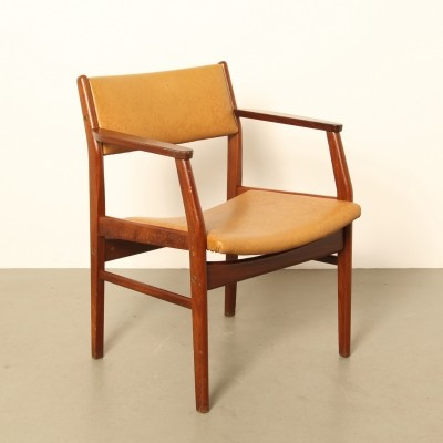 Rosewood chair with brown skai, 1970s