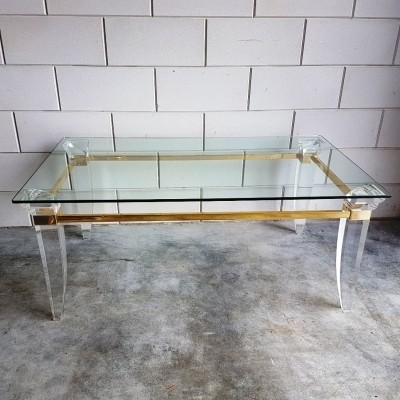 French Lucite brass & glass coffee table, 1980s