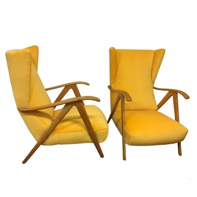 Pair of maple armchairs with compass armrests & yellow fabric covering, 1960s