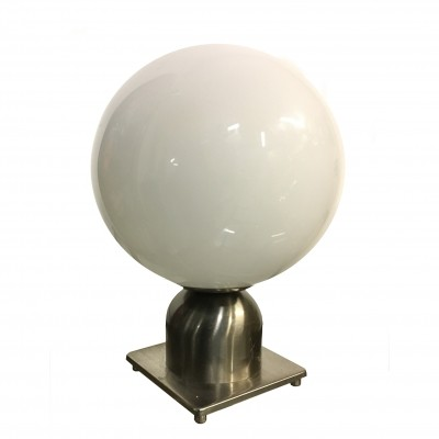 Table lamp with white glass globe & chromed metal body, 1970s
