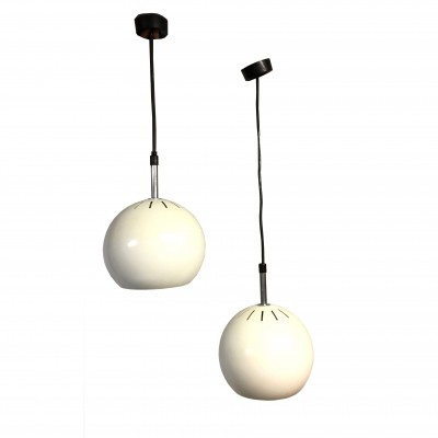 Pair of ivory lacquered metal hanging lamps by Alta Lite, 1970s