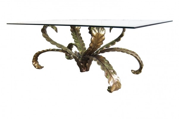 Brutalist floral design bronze coffee table with bevelled clear glass top, 1970s