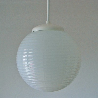 2x Ceiling or hanging lamp on metal tube & white glass, 1960s