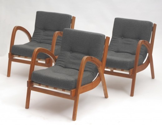 Set of 3 Antonín Kropáček arm chairs, 1950s