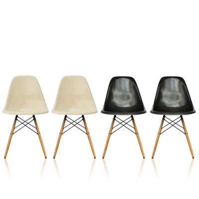 8 x Eames DSW - Dining Side Chair Wood Base, 1950s