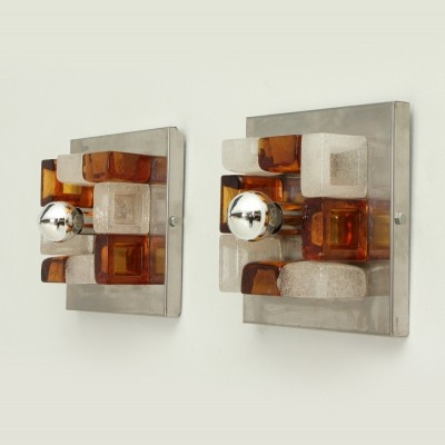 Pair of Square Sconces by Albano Poli for Poliarte, Italy