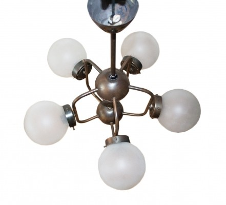 Space Age / Atomic Age ceiling lamp with 5 lights, 1970s