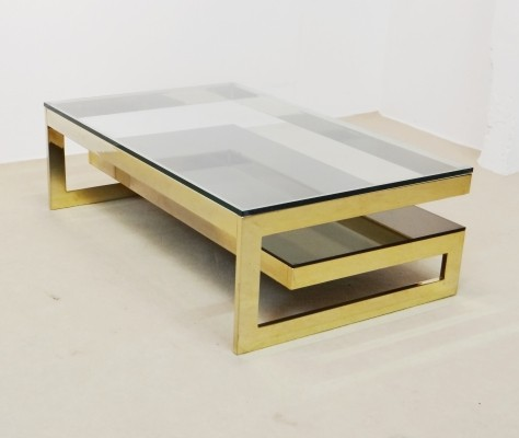 Gold G shape coffee table by Belgo Chrom, 1970s