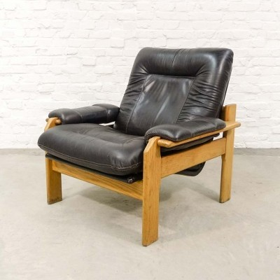 Dark Brown Leather with Oak Easy Chair, 1960s