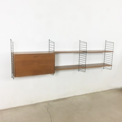 Walnut wall unit by Nisse Strinning for String Design AB, 1960s