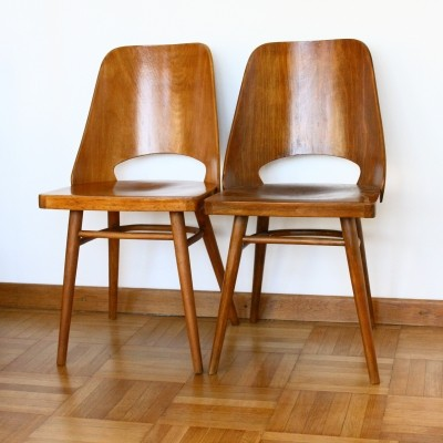 Pair of Model 514 dinner chairs by Ton Czechoslovakia, 1960s