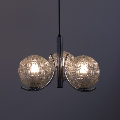 Glass & Metal Hanging Lamp by Richard Essig, 1970s