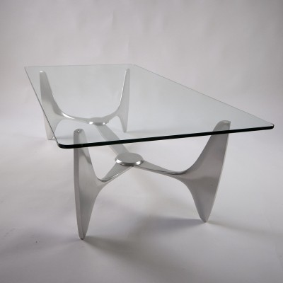 Glass & Aluminium Knut Hesterberg Coffeetable, 1960s
