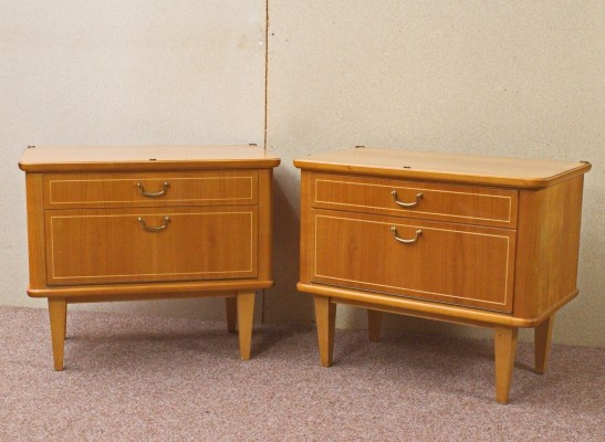 Pair of cherrywood Nightstands / Chest of drawers, Germany 1960s