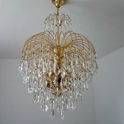 Chandelier with Brass & crystals drops, 1970s