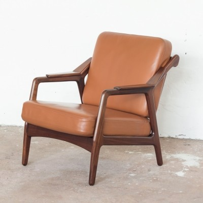Easy chair in teak & leather by Brockmann Petersen for Randers