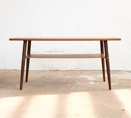 Danish coffee table in teak with brass connectors, 1960s