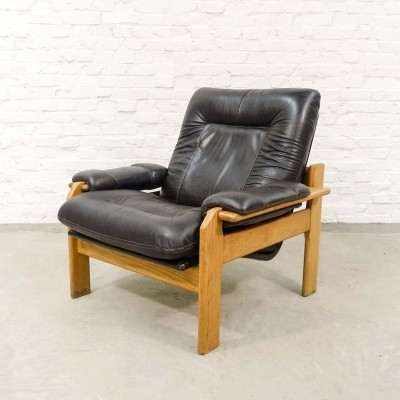 Dark Brown Leather with Oak Lounge Chair, 1960s