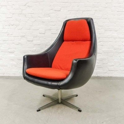Black Leatherette with Orange Egg chair Scandinavian Style, 1970s