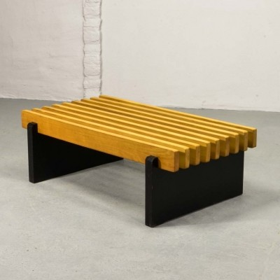 Beech Wooden Slat Bench Dutch Design, 1960s
