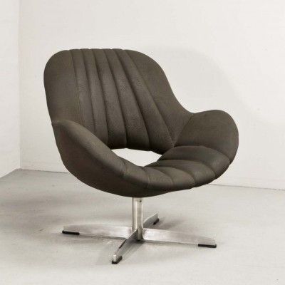 Chocolate Brown Leatherette Lounge Chair by Rohé, 1960s