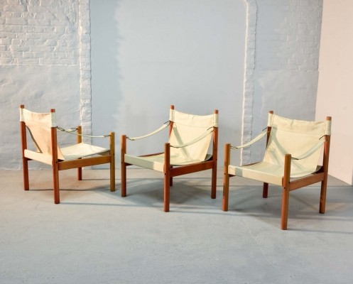 Three Scandinavian Canvas Safari Chairs, 1960s