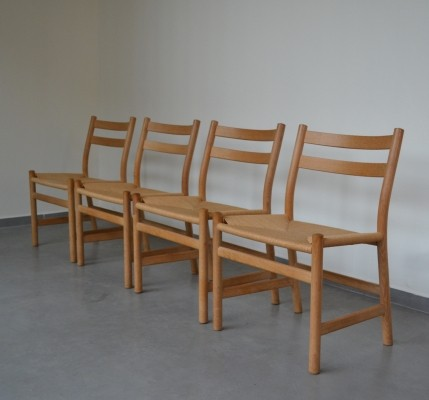 Set of 4 Papercord dinner chairs by Soren Holst for Fredericia, 1980s