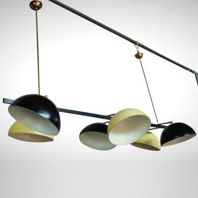 Italian Midcentury lamp with orientable black & ocre cups