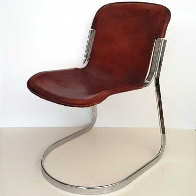 Cognac saddle leather chair by Willy Rizzo, 1970s
