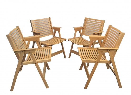 Set of 4 Rex arm chairs by Niko Kralj for Stol, 1970s