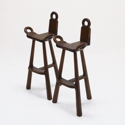Set of 2 Brutalist Spanish Bar Stools, 1960s