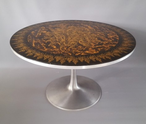 Poul Cadovius Dining Table Decorated by Susanne Fjeldsøe for Cado