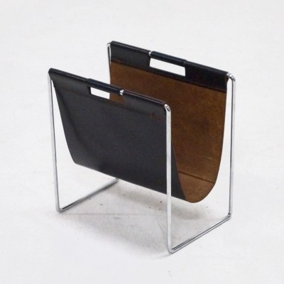 Brabantia Leather & Chrome Magazine Holder, 1970's
