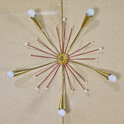 5 arms German Sputnik Lamp with brass