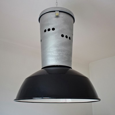 4 x Large workshop lamp in steel & enamel
