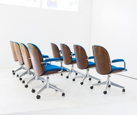 Set of 8 Ico Parisi office chairs, 1950s