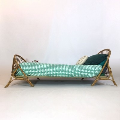 French bamboo & rattan bed, 1960s