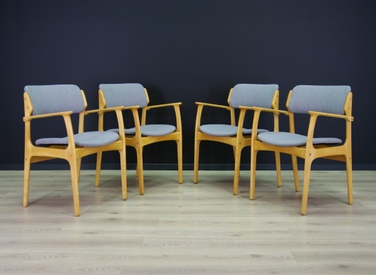 Set of 4 Erik Buch arm chairs, 1960s