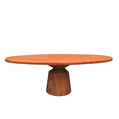 Red of Persia travertine marble oval table, 1980s
